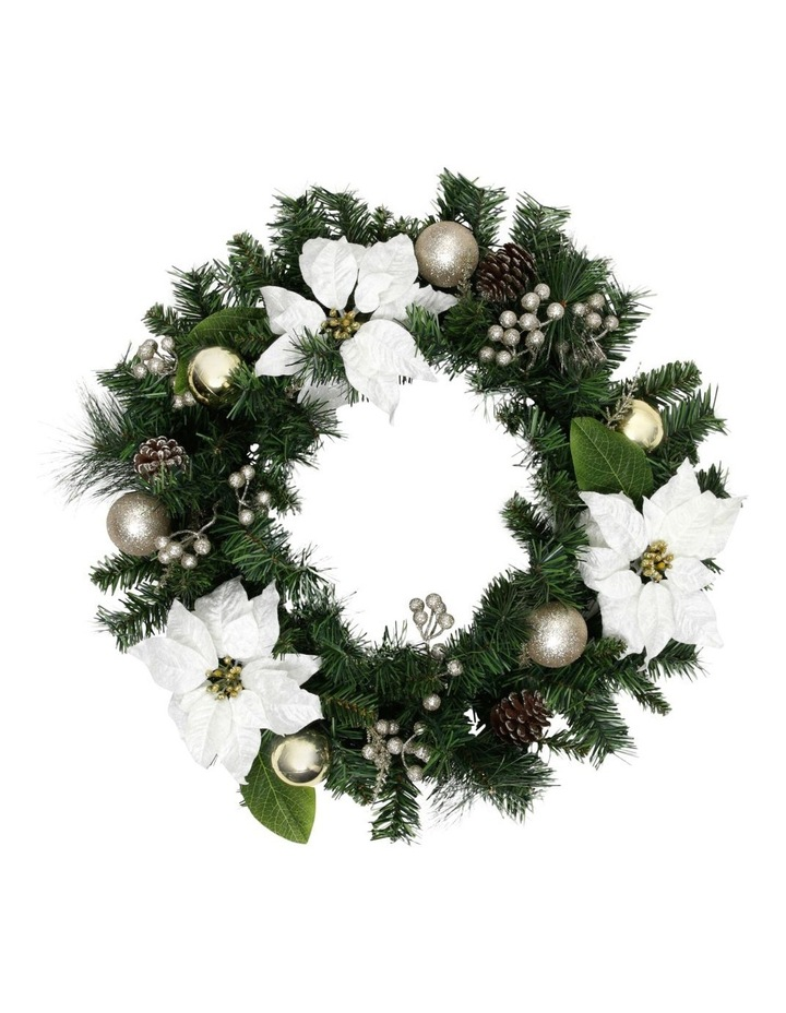 Luxe Wreath with Ivory Poinsettia Flowers and Pinecones image 1