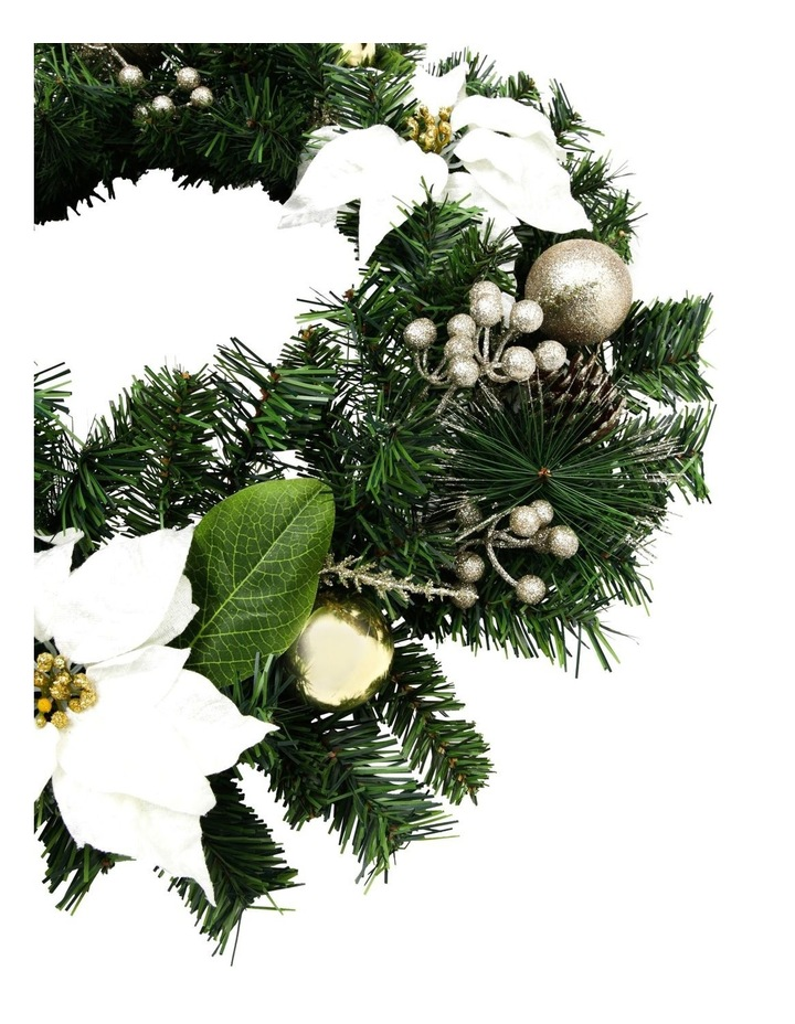Luxe Wreath with Ivory Poinsettia Flowers and Pinecones image 2