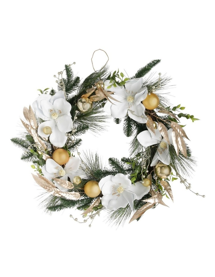 Luxe Faux Pine & Magnolia Wreath with Gold Baubles & Leaves 46 cm image 1