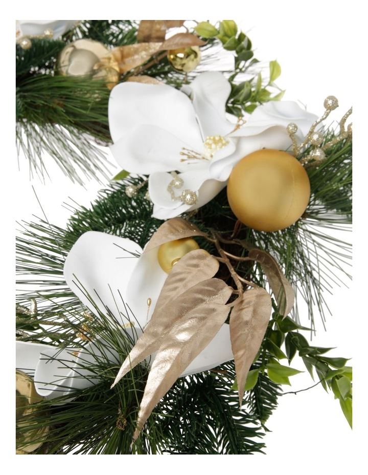 Luxe Faux Pine & Magnolia Wreath with Gold Baubles & Leaves 46 cm image 2