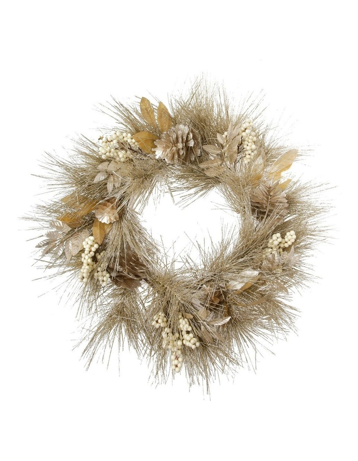 Luxe Champagne Glittered Faux Pine Wreath with Pinecones & Berries image 1