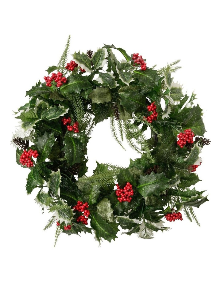 Heirloom Faux Holly Leaf & Berry Wreath image 1
