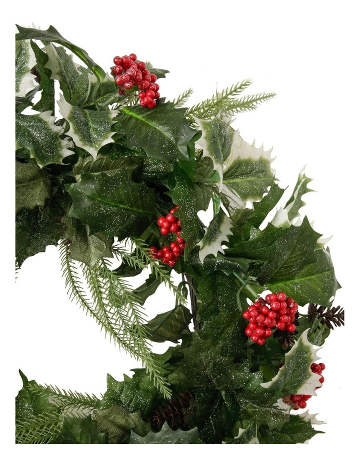 Heirloom Faux Holly Leaf & Berry Wreath image 2