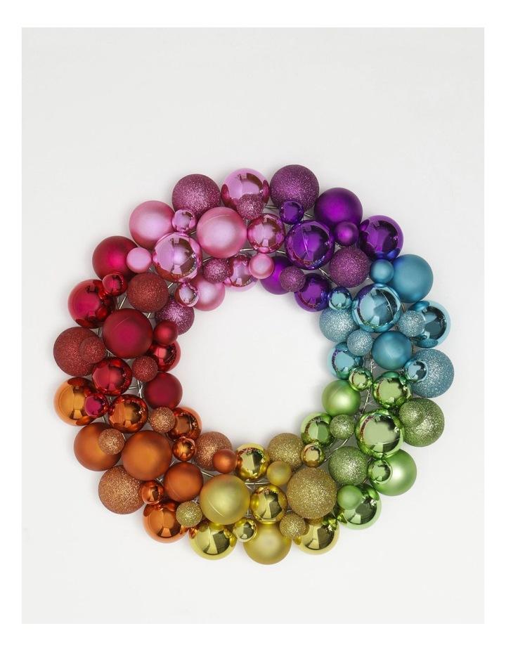 Merry & Bright Plastic Bauble Wreath- Multi: 40 Cm image 1
