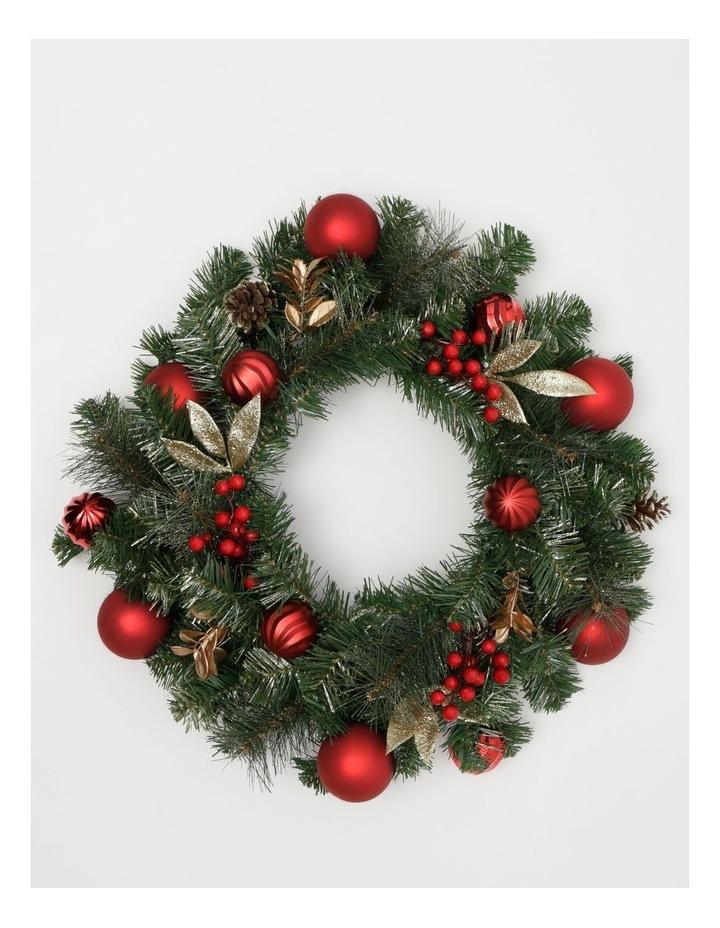 Heirloom Plastic Faux Berries, Cones & Bauble Wreath- Red/Green: 60 Cm image 1