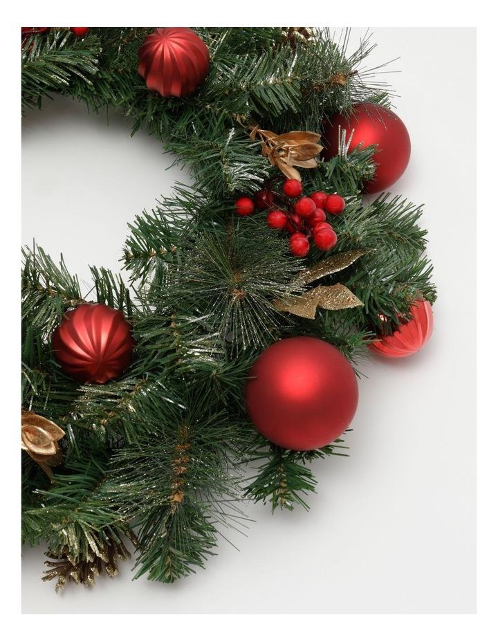 Heirloom Plastic Faux Berries, Cones & Bauble Wreath- Red/Green: 60 Cm image 2