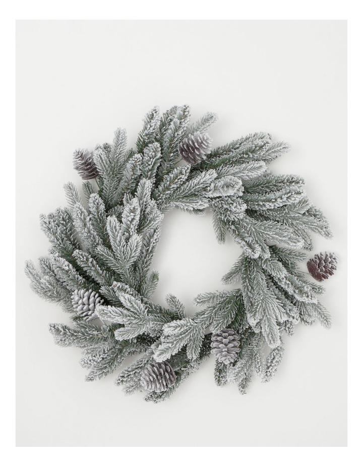 Luxe Flocked Pine Wreath- Green/White: 60 Cm image 1