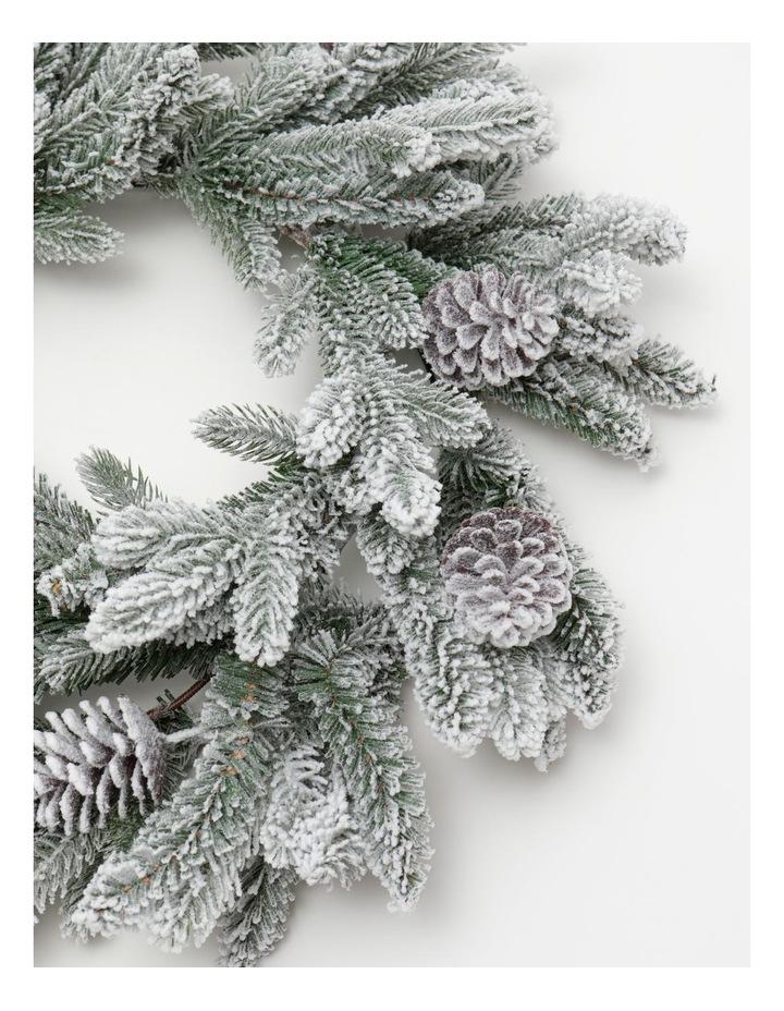 Luxe Flocked Pine Wreath- Green/White: 60 Cm image 2