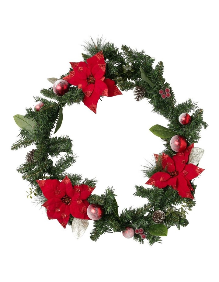 Heirloom Red Poinsettia and Faux Pinecones Garland image 1