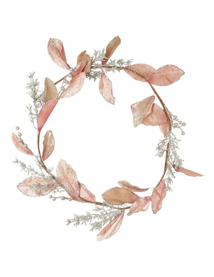 Luxe Faux Pink Magnolia Leaf Garland with Glitter Berries image 1