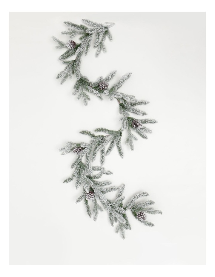 Luxe Flocked Pine Garland- Green/White: 182 Cm image 1