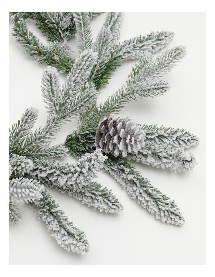 Luxe Flocked Pine Garland- Green/White: 182 Cm image 2