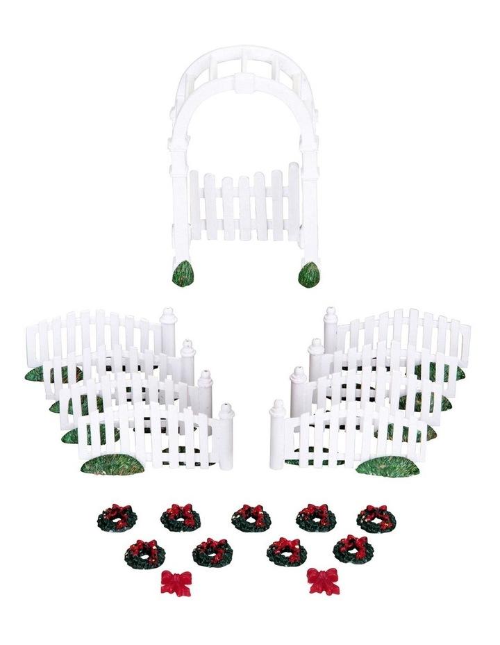 Plastic Arbor & Picket Fences W/Decorations Set Of 20 image 1