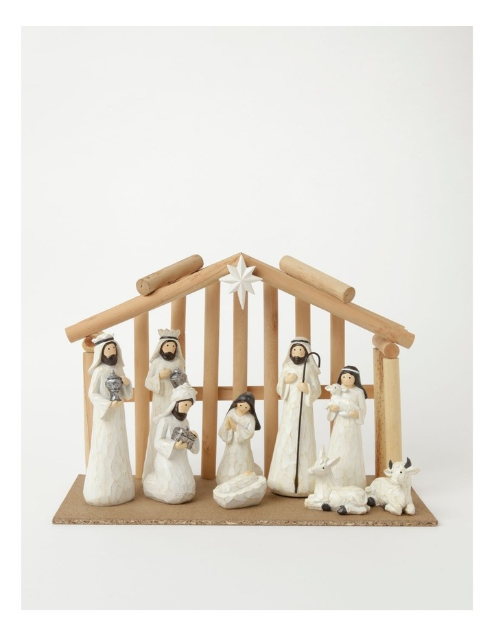 Eucalyptus Resin Nativity Scene w/ Wooden Manger- White: 19cm image 1