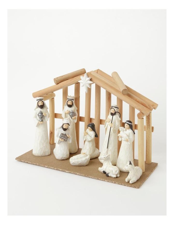 Eucalyptus Resin Nativity Scene w/ Wooden Manger- White: 19cm image 3