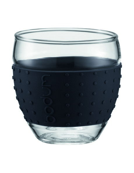 Pavina Glass with Silicone Band  2 Piece  350ml - Black image 1