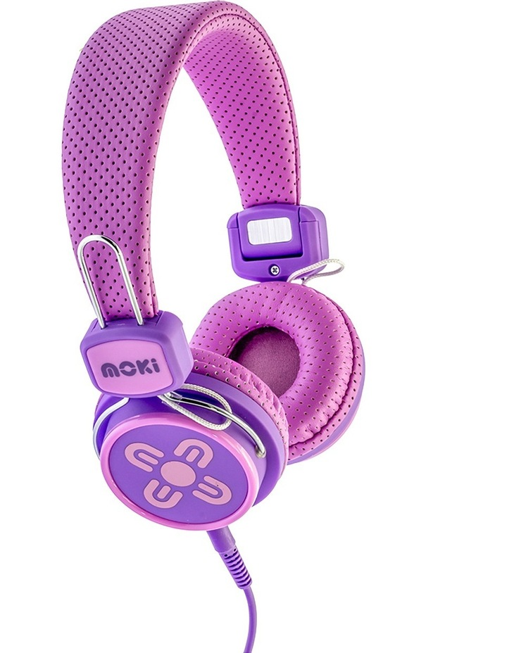 Kids Safe Volume Limited Headphones Pink/Purple image 2