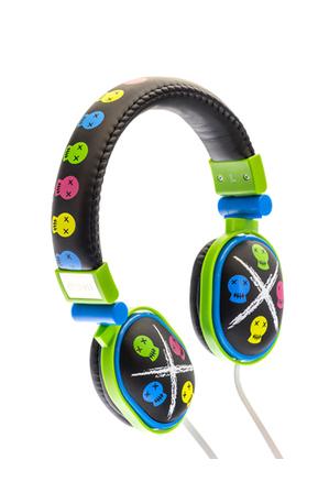 Moki - Popper Kids On-Ear Headphones - Skull Black