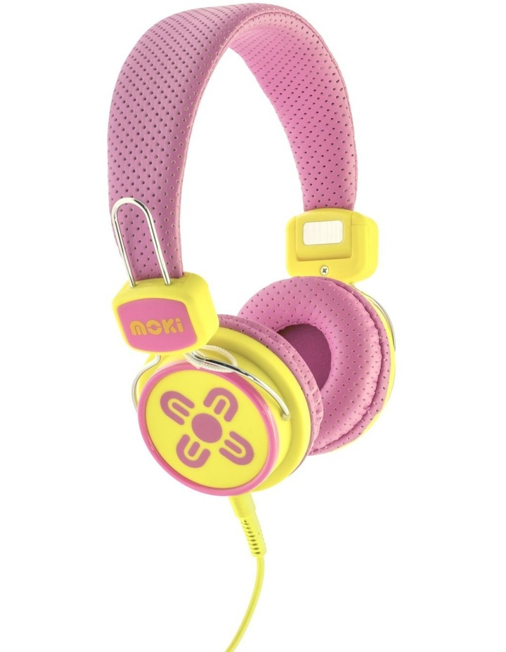 Kids Safe Volume Limited Headphones - Pink/Yellow image 1