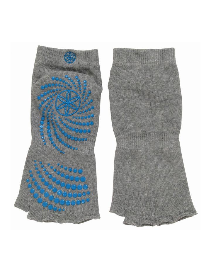 Toeless Yoga Socks - Heather Grey / Blue image 1