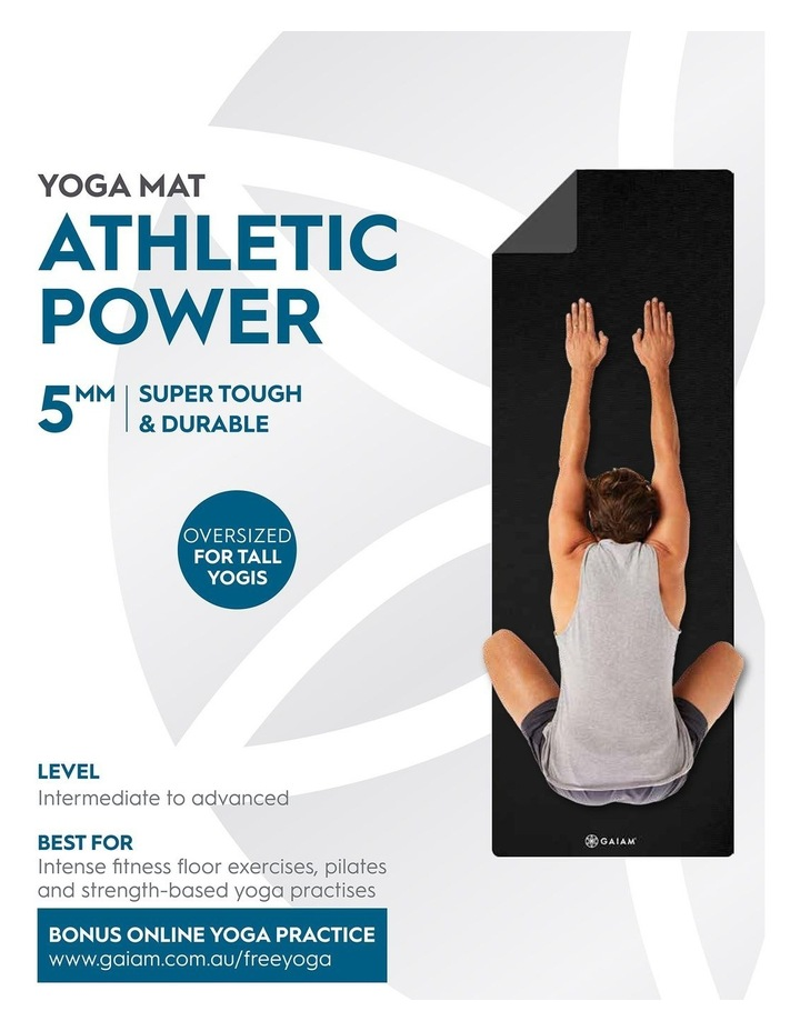 Athletic Power 5mm Yoga Mat in Black image 5
