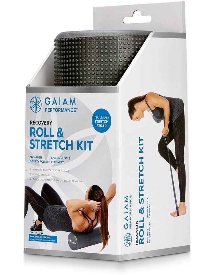Roll & Stretch Kit 30cm Foam Roller and Stretch Strap in Grey image 1