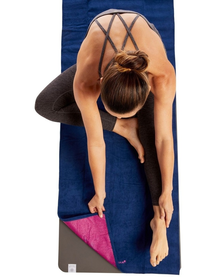 Grippy Yoga Mat Towel - Navy/Pink image 2