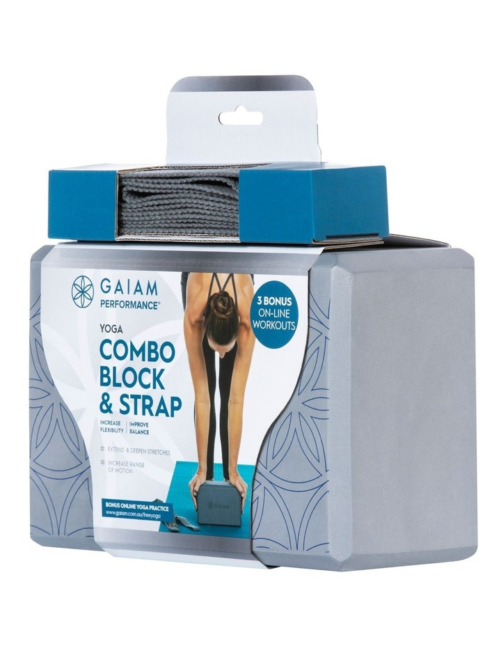 Printed Yoga Block/Strap Combo in Grey image 1