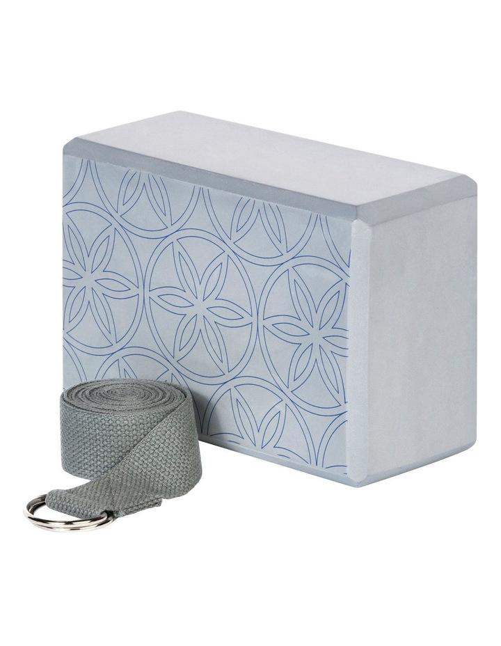 Printed Yoga Block/Strap Combo in Grey image 2