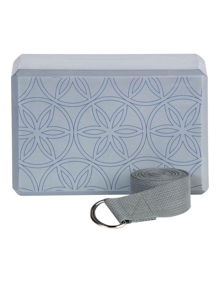Printed Yoga Block/Strap Combo in Grey image 4