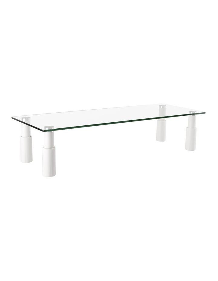 Glass Monitor Riser Rectangular Glass/White ESS-101 image 1