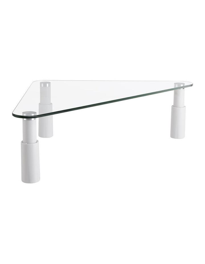 Glass Monitor Riser Corner Glass/White ESS-102 image 1