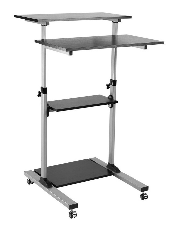 Mobile Height Adjustable Cart with Shelves Black/Silver EMC-01 image 1