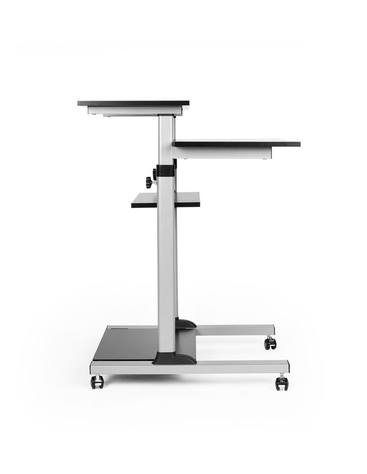 Mobile Height Adjustable Cart with Shelves Black/Silver EMC-01 image 2