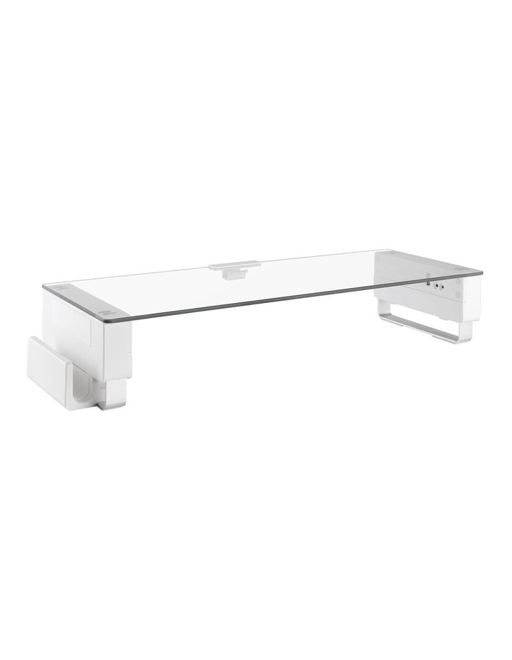Glass Monitor Riser with USB Ports in White image 2