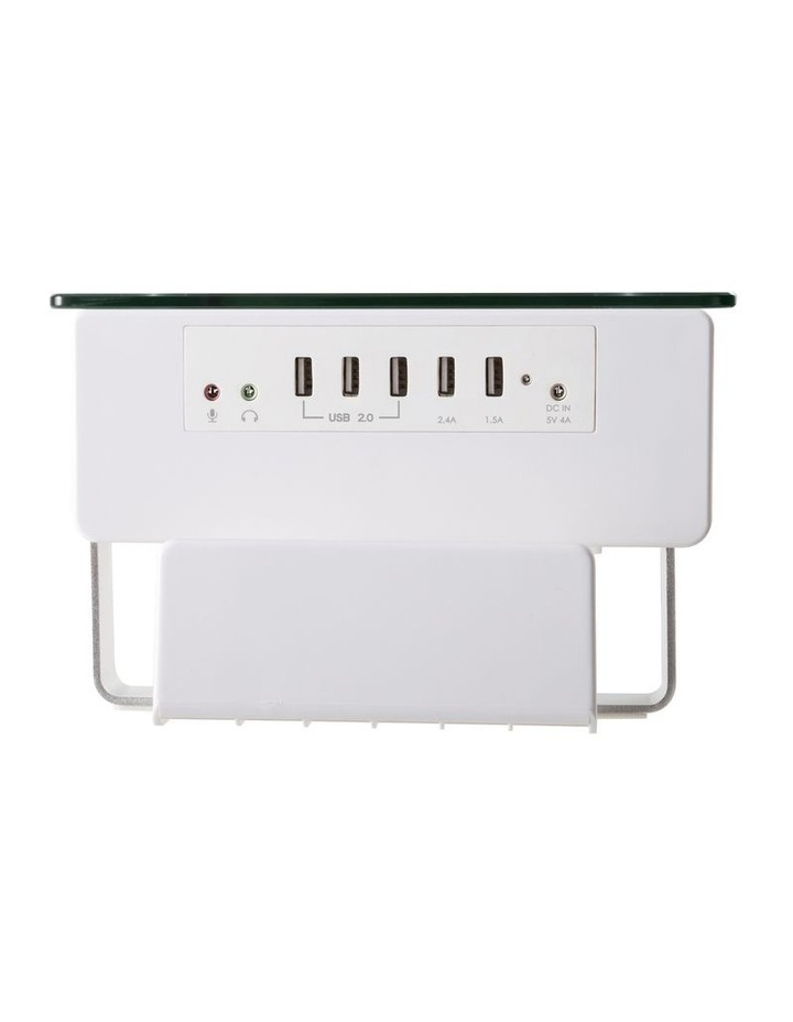 Glass Monitor Riser with USB Ports in White image 3