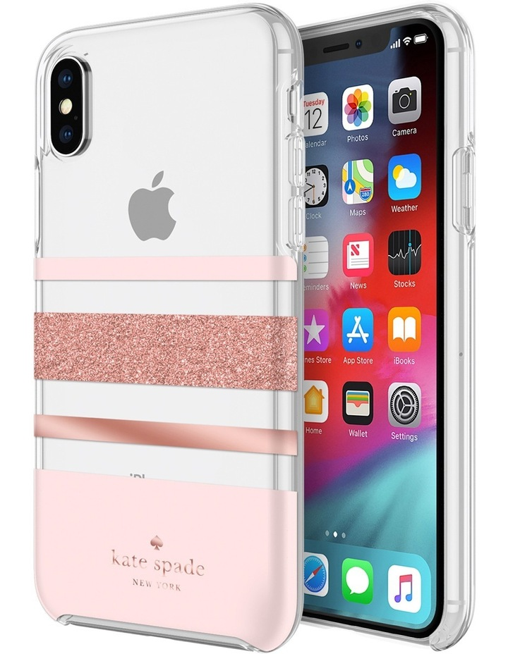 Hardshell Case for iPhone XS - Bold Stripe Rose Gold Glitter/Clear image 1