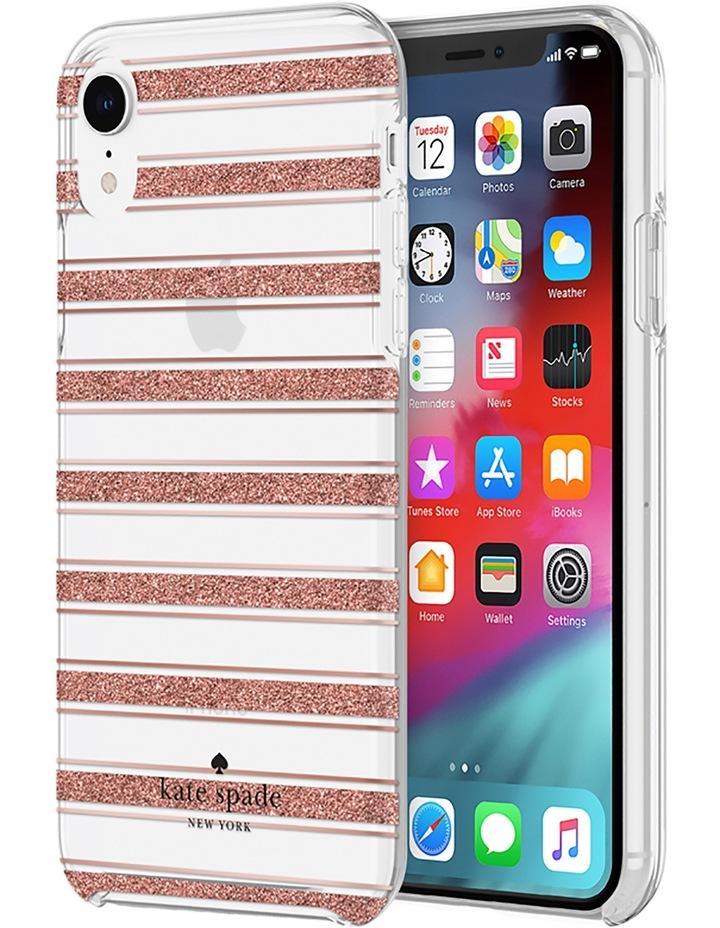 Hardshell Case for iPhone XR - Bold Stripe Rose Gold Glitter/Clear image 1