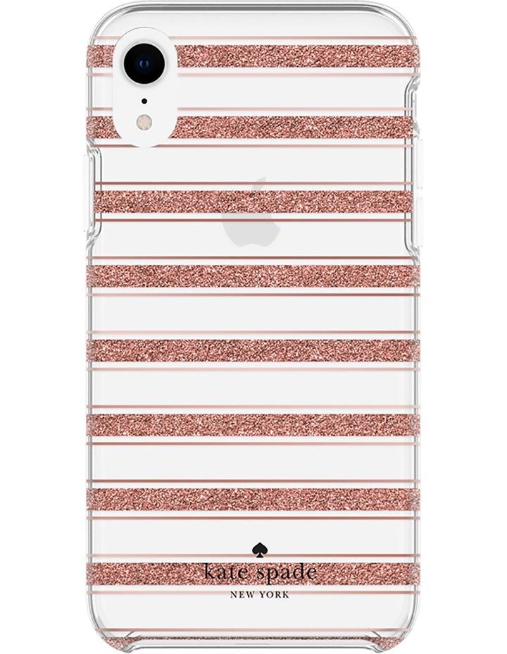 Hardshell Case for iPhone XR - Bold Stripe Rose Gold Glitter/Clear image 2