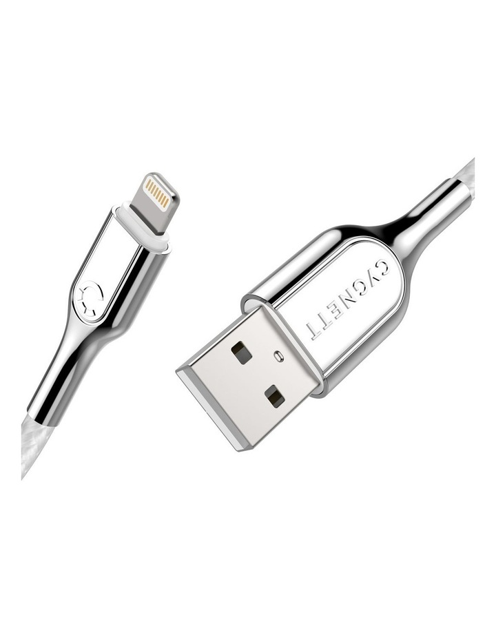 Armoured Lightning to USB-A Cable Braided White 2m image 2