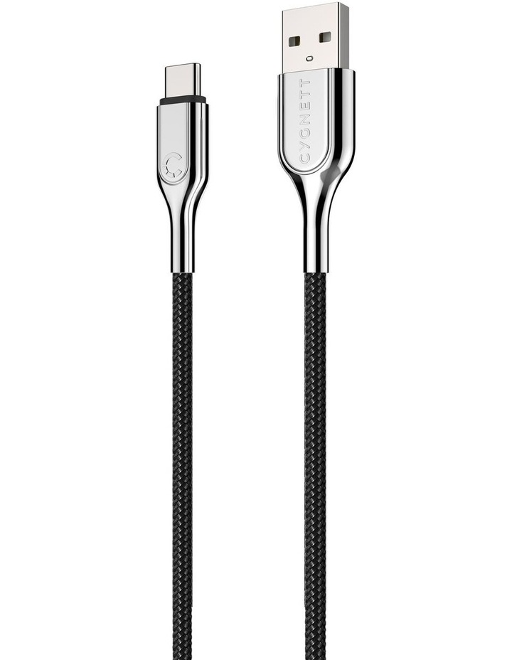 Armoured USB-C to USB-A Cable (USB 2.0) Braided Black 1m image 5