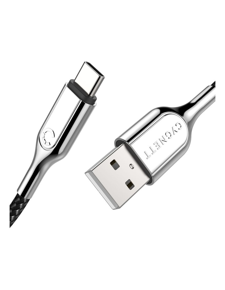 Armoured USB-C to USB-A Cable (USB 2.0) Braided Black 2m image 2