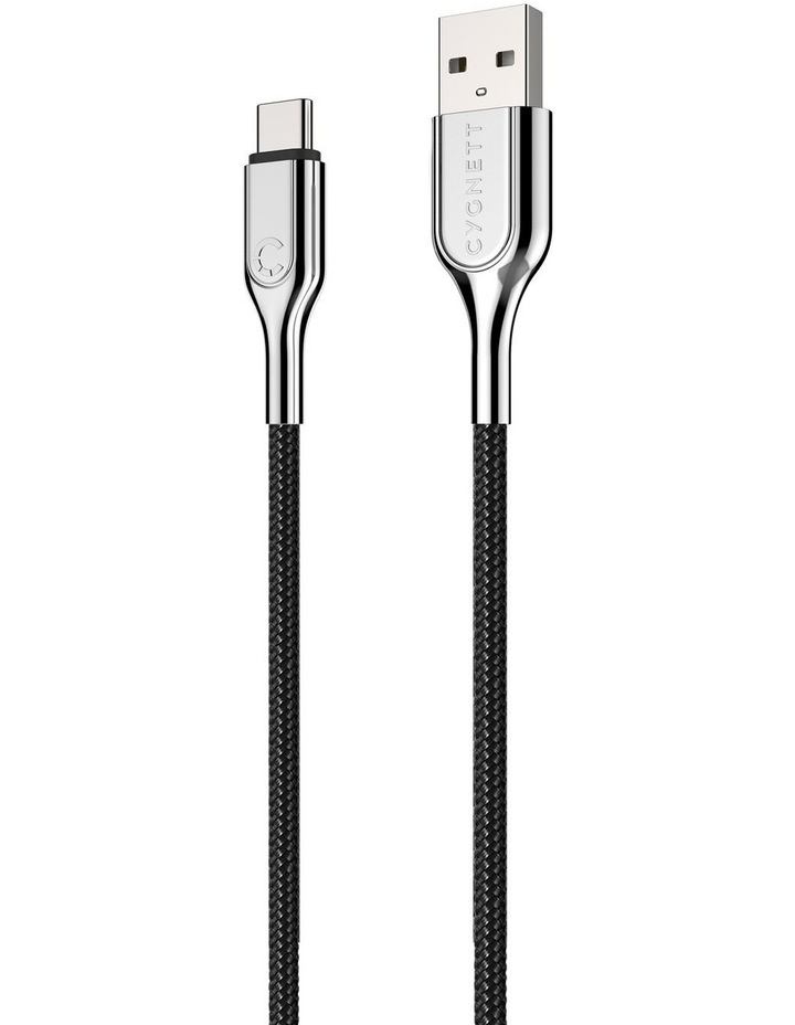 Armoured USB-C to USB-A Cable (USB 2.0) Braided Black 2m image 6