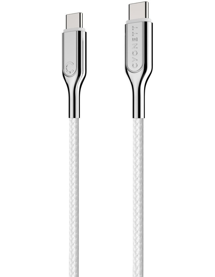 Armoured USB-C to USB-C Cable (USB 2.0) Braided White 1m image 5