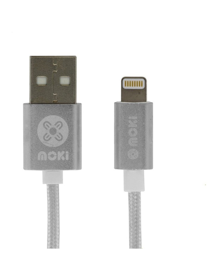 Braided Lightning SynCharge Cable - Silver image 1