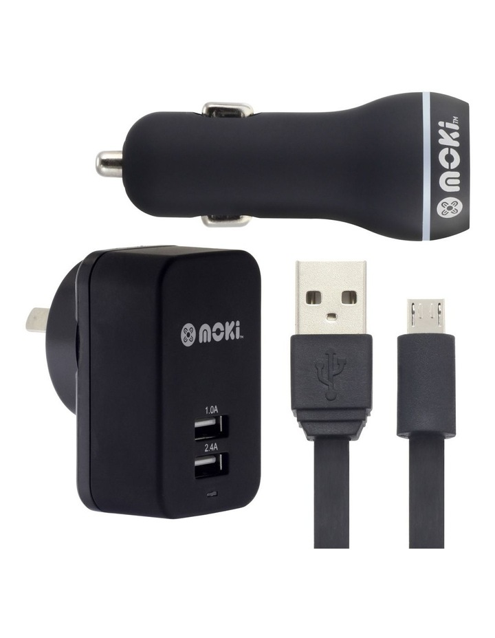 MicroUSB Syncharge Cable   Car   Wall - Black image 1