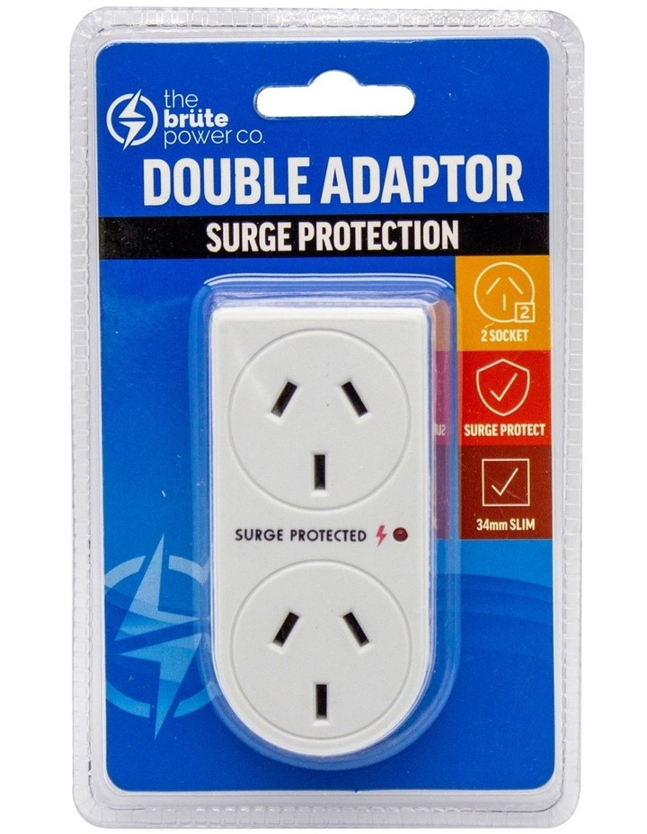 Double Adaptor Vertical Surge Protection- White image 1