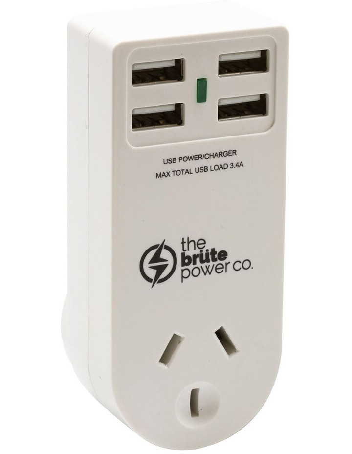 Adaptor with 1 Socket and 4 USB- White image 1