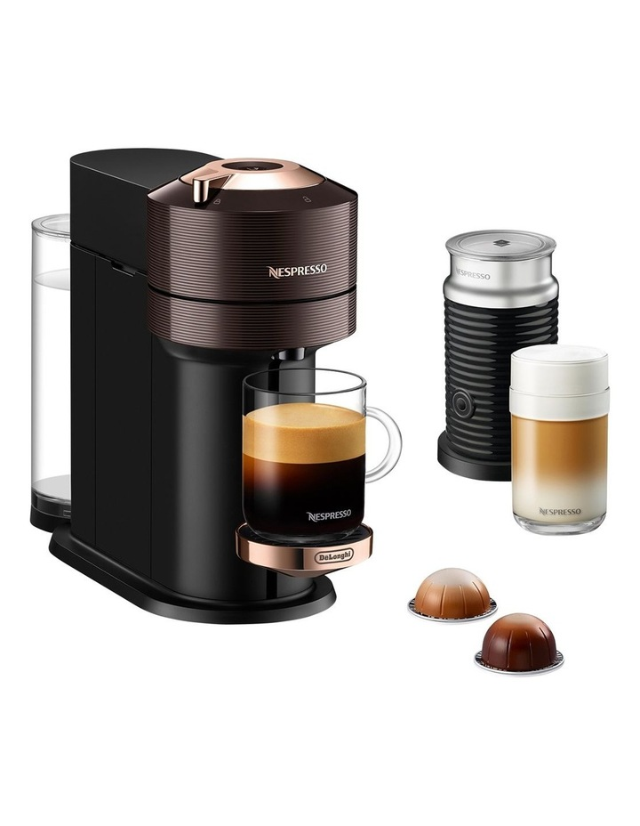 by De'Longhi Vertuo Next Capsule Coffee Machine with Milk Frother in Brown/Rose Gold ENV120BWAE image 1