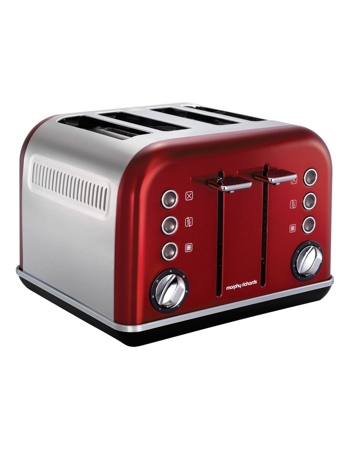 morphy richards 242020 accents 4 slice toaster metallic red myer. Black Bedroom Furniture Sets. Home Design Ideas